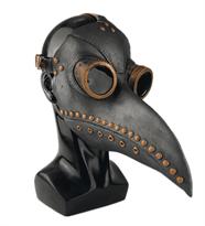 Маска Чумного Доктора (черная с коричневыми заклепками) купить в Москве