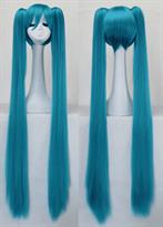 Купить Голубой парик Хацунэ Мику длинные прямые хвостики в Москве