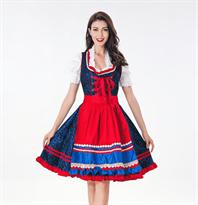 Баварское платье для Октоберфеста (синее с красным) купить в Москве