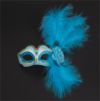 Голубая венецианская маска с розой и перьями купить