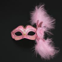 Купить Розовая венецианская маска с розой и перьями