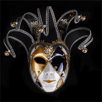 Черная венецианская маска со львом купить в Москве