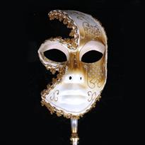 Купить Белая венецианская маска с ручкой
