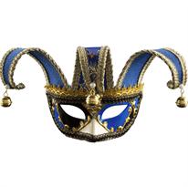 Синяя карнавальная венецианская маска на глаза купить