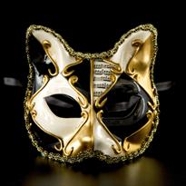 Детская венецианская маска с кошачьми ушками (черная) купить