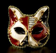 Детская венецианская маска с кошачьми ушками (красная) купить