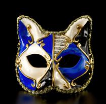 Детская венецианская маска с кошачьми ушками (синяя) купить