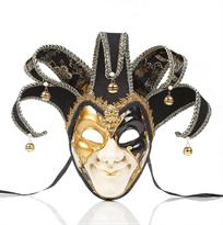 Черная венецианская маска шута купить