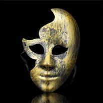 Золотистая венецианская маска на пол-лица
