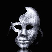Серебристая венецианская маска на пол-лица купить