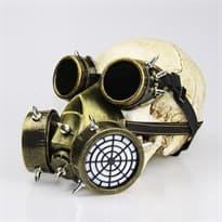 Маска в стиле стимпанк Золотой противогаз и очки купить Москва