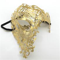 Металлическая венецианская маска на пол-лица (золото) купить в Москве