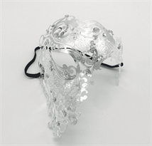 Металлическая венецианская маска на пол-лица (серебро) купить в Москве