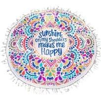"""Купить круглое пляжное полотенце """"Sunshine on my shoulders makes me happy"""""""
