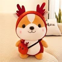 Плюшевая игрушка Шиба Ину в костюме оленя (25см) купить Москва