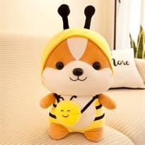 Плюшевая игрушка Шиба Ину в костюме пчелки (35см) купить Москва