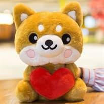 Плюшевая игрушка Шиба Ину с сердцем (25см) купить Москва