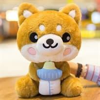 Плюшевая игрушка Шиба Ину с бутылочкой (35см) купить Москва