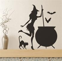 Купить наклейку ведьма на хэллоуин