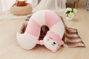 Плюшевая подушка игрушка кошечка розовая