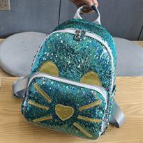 Купить Голубой рюкзак с пайетками с ушками и усами котика