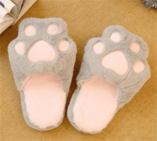 Купить Тапки кошачьи лапки серые в Москве
