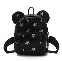Черный рюкзак с пайетками и ушками мишки купить в Москве