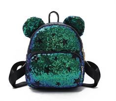 Зеленый рюкзак с пайетками и ушками мишки купить в Москве