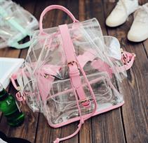 Прозрачный рюкзак (лямки розовые) купить в Москве