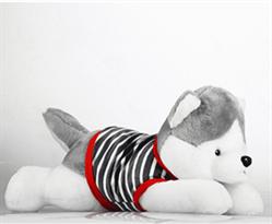 Купить Мягкую игрушку хаски в полосатой кофте 40 см в Москве