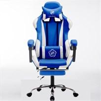 Компьютерный стул - киберспортивное кресло Like-regal (бело-синее) с виброподушкой