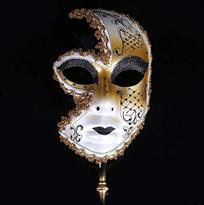Черная венецианская маска с ручкой купить в Москве