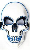 Светодиодная Led маска Череп для Хэллоуина (белая с синим) купить в Москве
