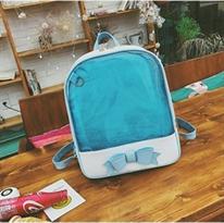 Прозрачный рюкзак с бантом (голубой) купить в Москве