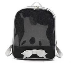 Прозрачный рюкзак с бантом (черный) купить в Москве