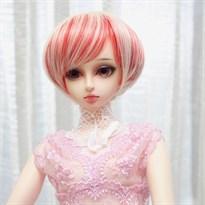 Парик для куклы BJD короткий (Цвет Красный с белым) купить Москва