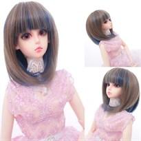 Парик для куклы BJD короткий (Цвет Коричневый с синим) купить Москва