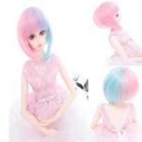 Парик для куклы BJD короткий (Цвет Розово-голубой градиент) купить Москва