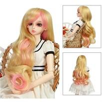Парик для куклы BJD длинный (Цвет Белый с розовым) купить Москва