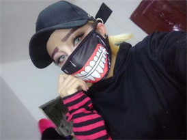 Маска на рот из аниме Токийский Гуль (Tokyo Ghoul) с молнией купить недорого
