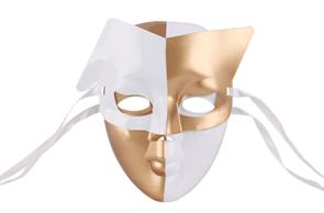 Двойная карнавальная маска бело-золотистая купить в Москве