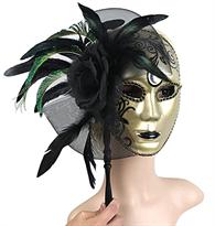 Золотистая карнавальная венецианская маска с цветком и перьями купить в Москве