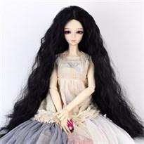 Парик для куклы BJD распущенные волосы (Цвет Черный) размер 4 купить Москва