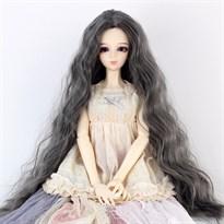 Парик для куклы BJD распущенные волосы (Цвет Серый) размер 4 купить Москва