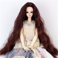 Парик для куклы BJD распущенные волосы (Цвет Темно-коричневый) размер 4 купить Москва