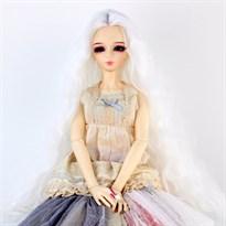 Парик для куклы BJD распущенные волосы (Цвет Белый) размер 3 купить Москва