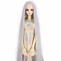 Парик для куклы BJD очень длинные волосы (Цвет Серебристо-серый) размер 4 купить Москва