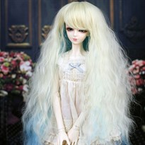 Парик для куклы BJD длинный волосы с голубым градиентом (Размер 6) купить Москва