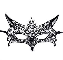 Черная кружевная карнавальная маска лиса купить в Москве