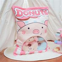 Мягкая игрушка подушка розовая Пачка пончиков свинок купить в Москве